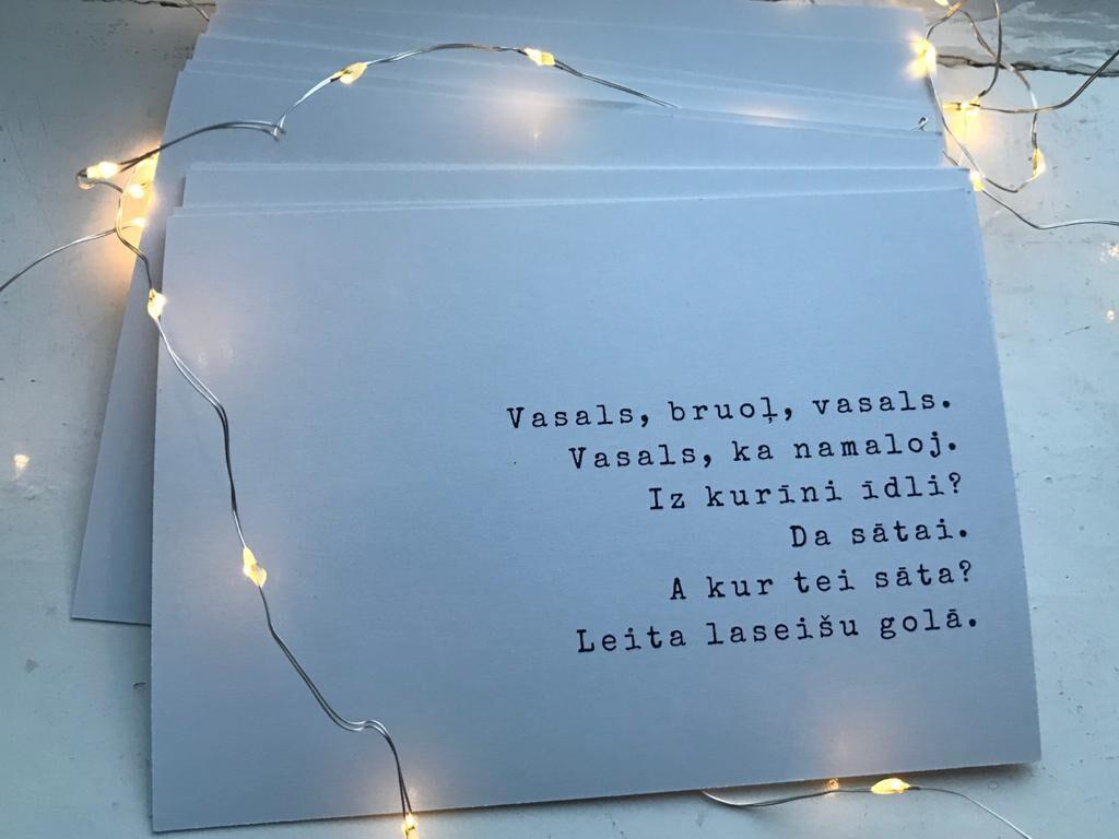 Pastkaršu komplekts (12 gab.) ar citātiem no Valentīna Lukaševiča dzejām
