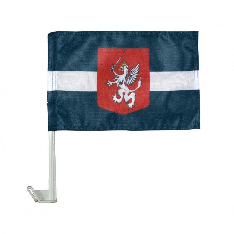 Latgales karogs (ārpusē pie mašīnas stikla)