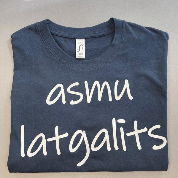 """T-krekls """"Asmu latgalīts"""" (džinsu zils)"""